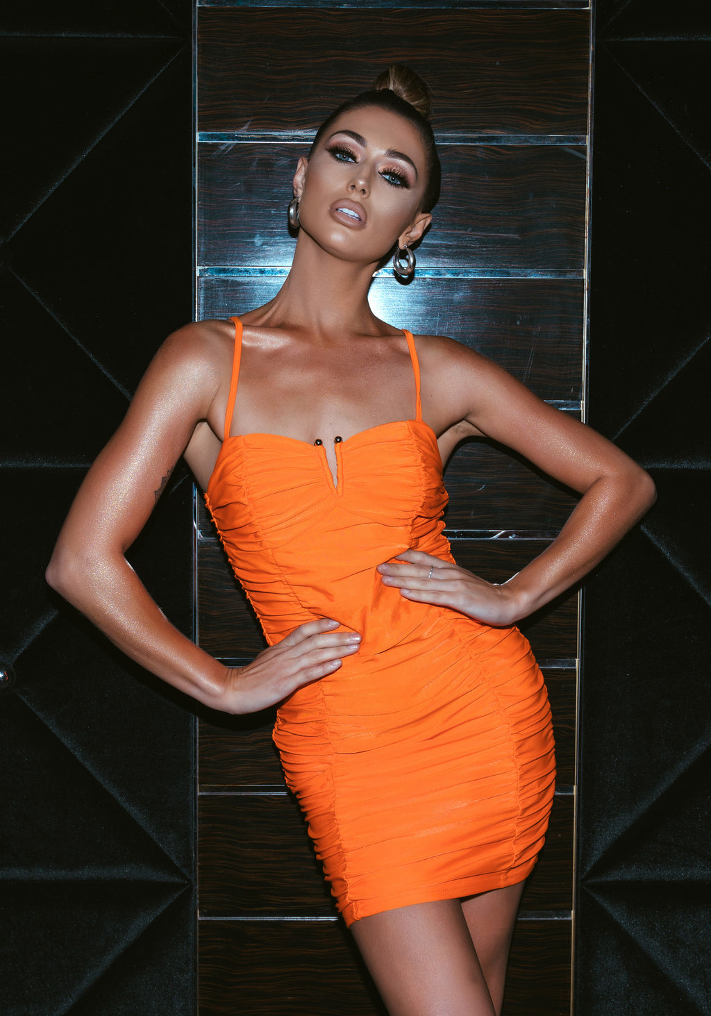 Orange Ruched Mini Dress