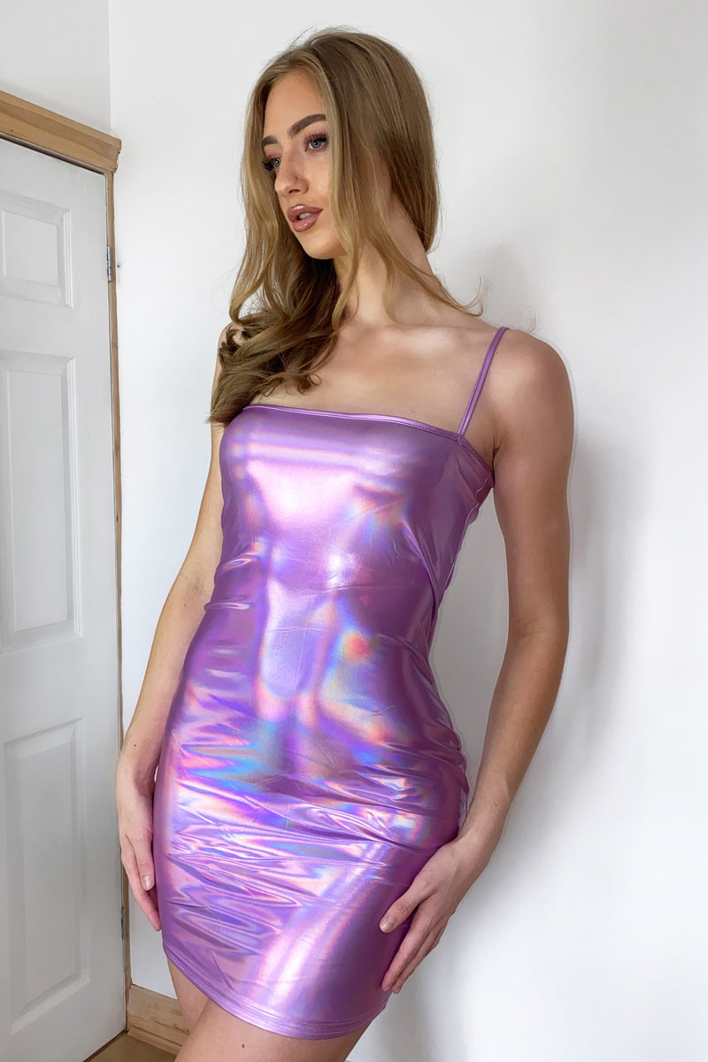 Holographic Purple Mini Dress
