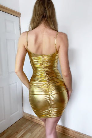 Gold Ruched Metallic Dress