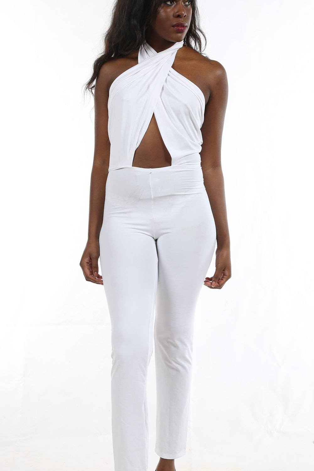 White Halter Jumpsuit