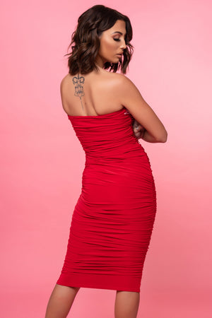 Red Ruched Midi Dress - Mirror Image Style