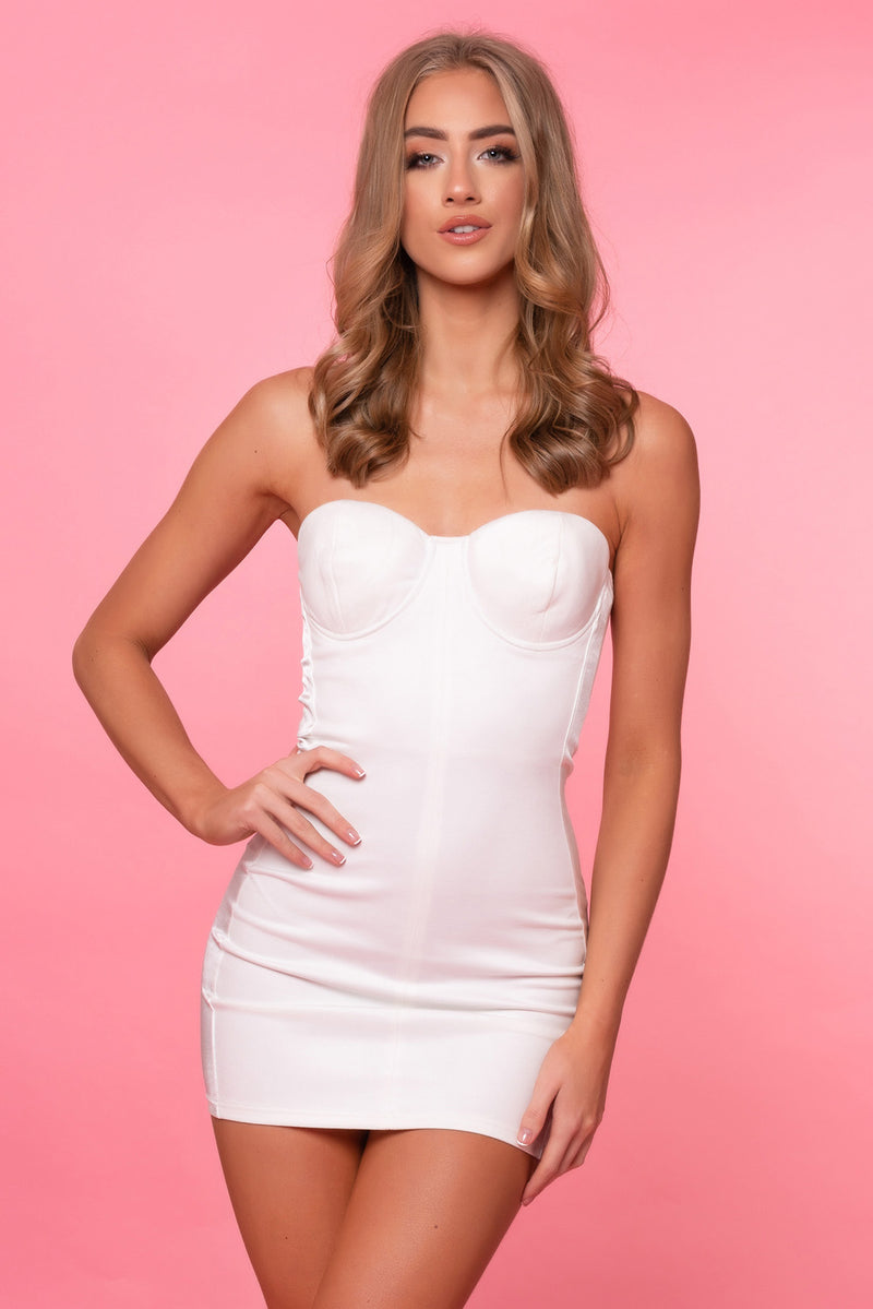 White Strapless Satin Panel Dress - Mirror Image Style