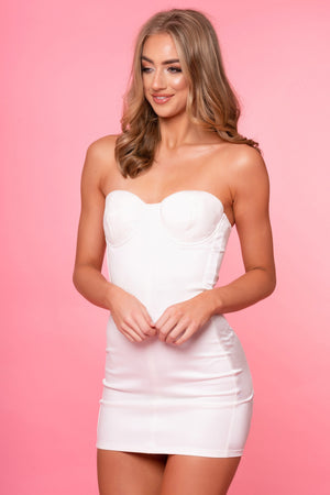 White Strapless Satin Panel Dress