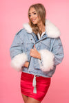 Denim Faux Fur Lined Coat - Mirror Image Style