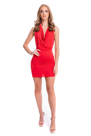 Red Ruched Halter Dress
