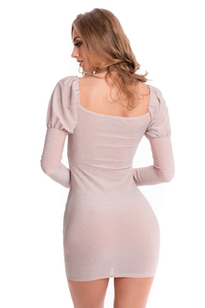 Nude Glitter Lurex Long Sleeve Dress