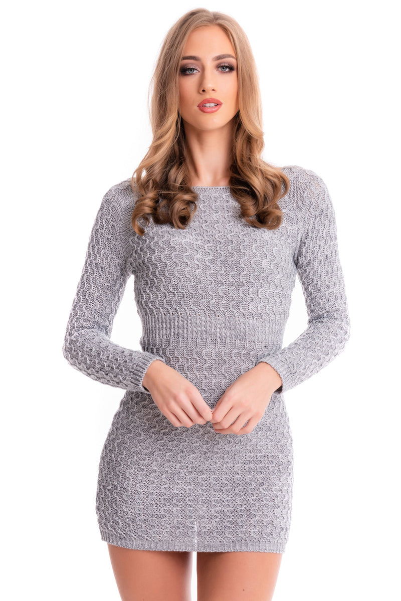 Grey Knitted Jumper Dress - Mirror Image Style