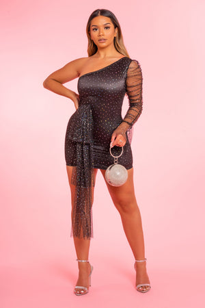 One Sleeve Black Glitter Dress