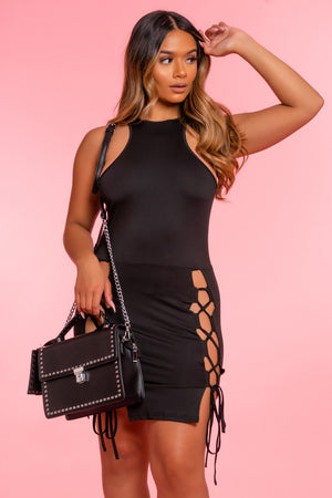 Lace Up Black Dress