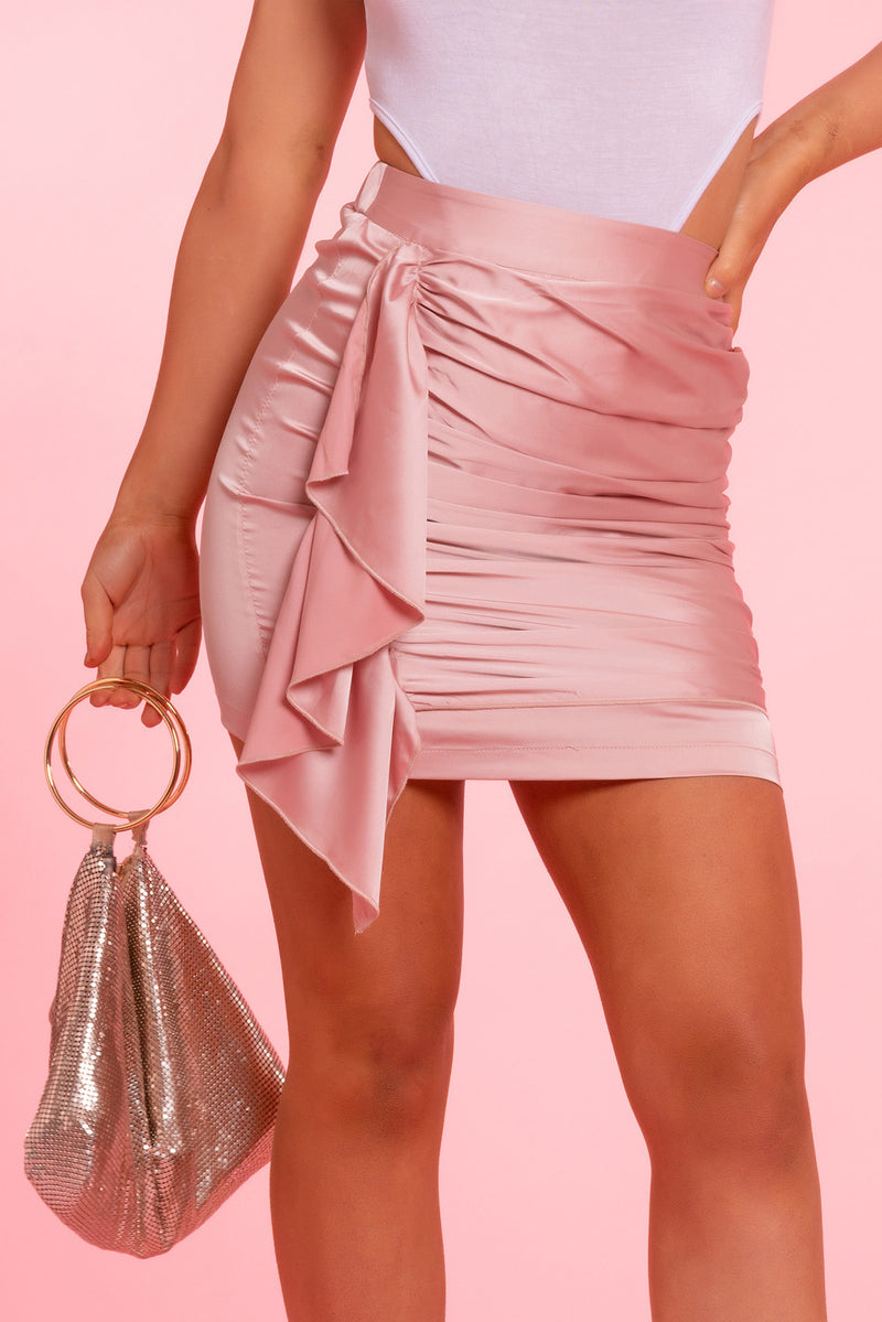 Pink Satin Ruched Skirt