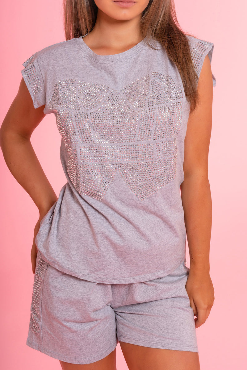 Grey Diamante Lounge Set