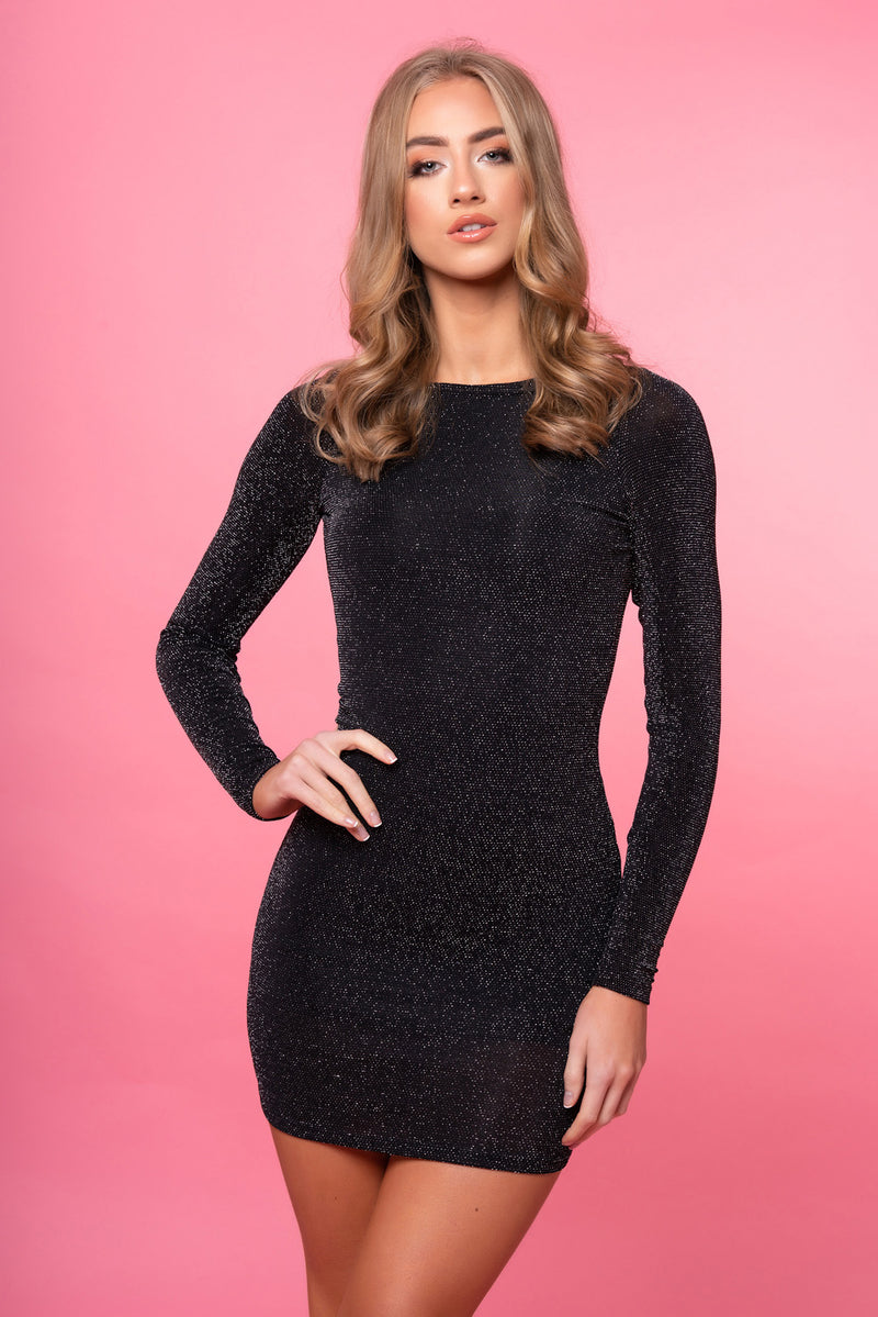 Glitter Black Cowl Back Dress