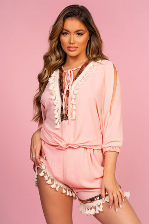 Pink Tassle Co-Ord Cover up