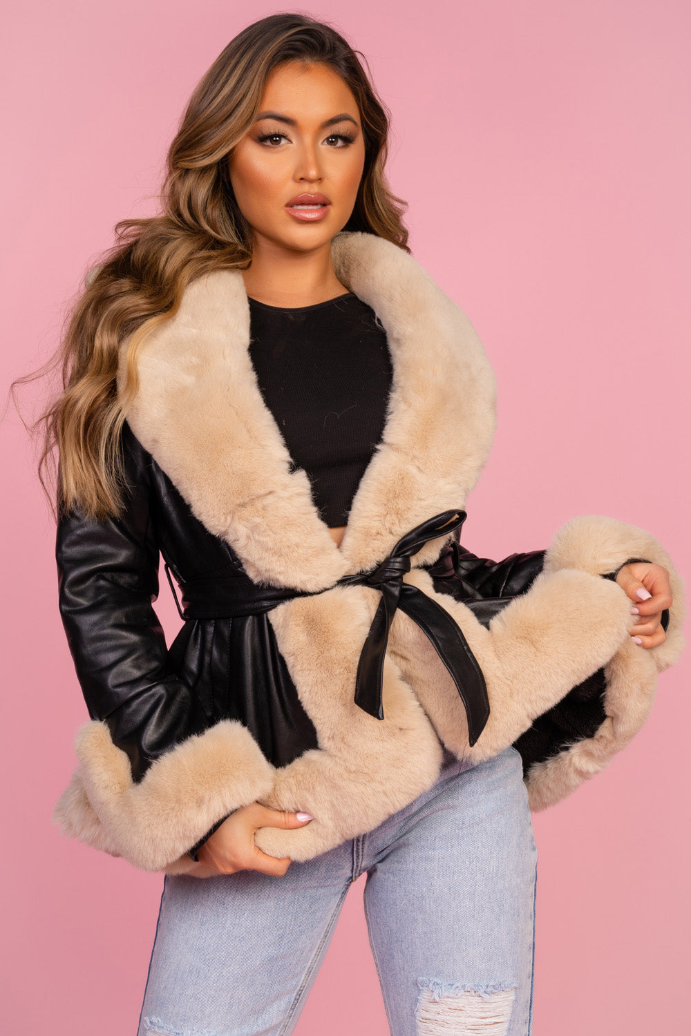 Black Pleather Faux Fur Trim Coat