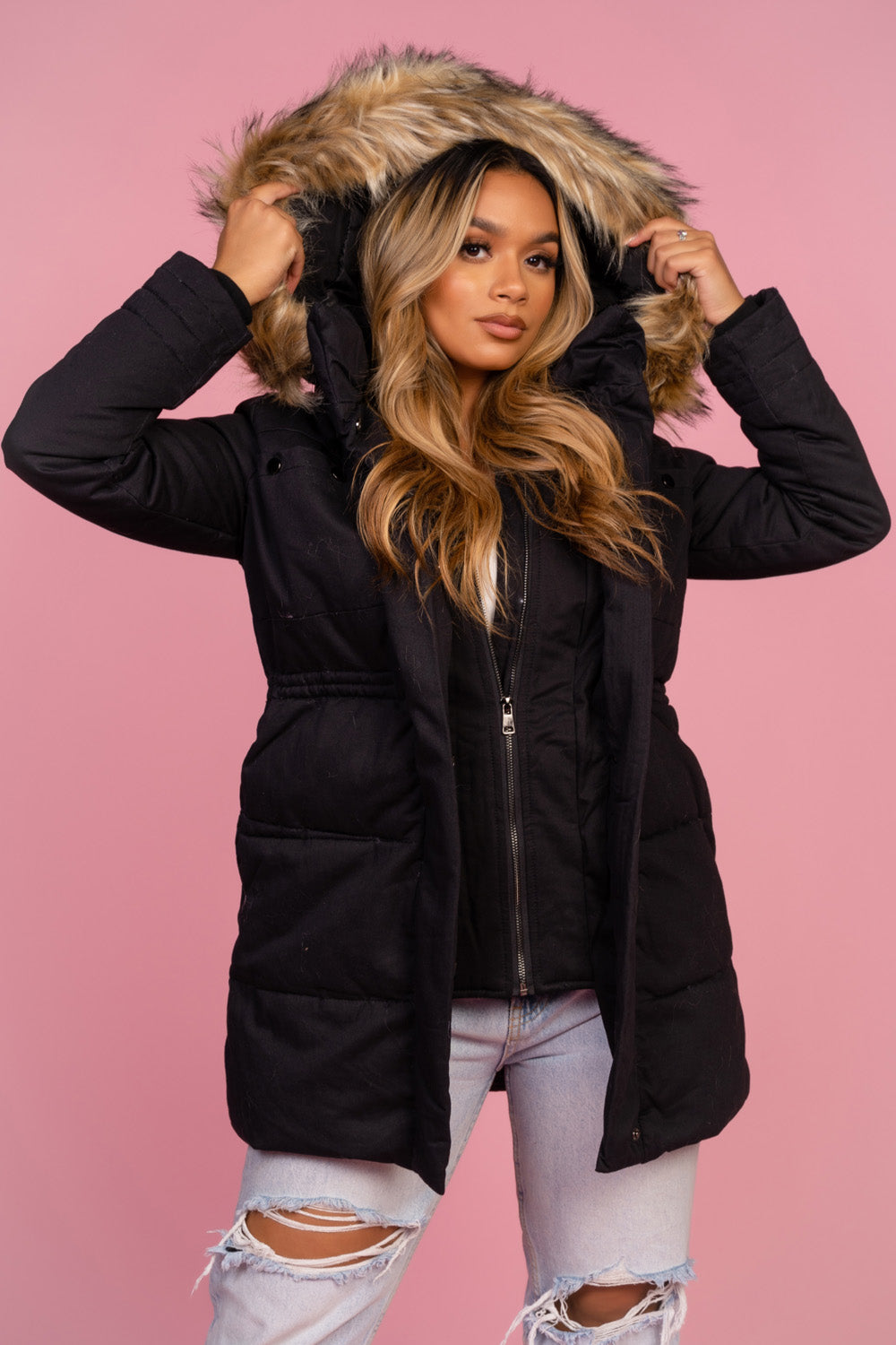Black Faux Fur Hood Trim Coat