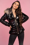 Black Faux Fur Trim Puffer Coat