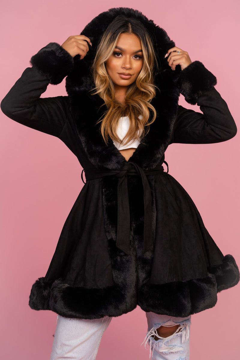 Black Hooded Suede Style Coat