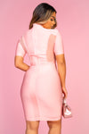 Pink Sheer Panel Bandage Dress