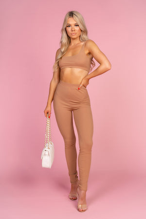 Ribbed Beige Crop Co Ord