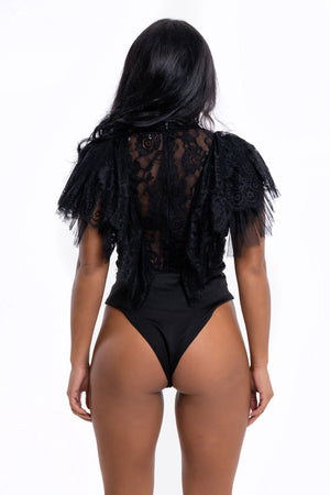Black Lace Frill Bodysuit - Mirror Image Style