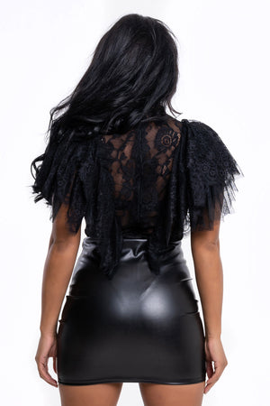 Wet Look Black Mini Skirt - Mirror Image Style