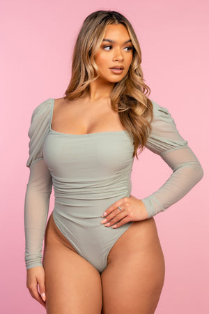 Green Ruched Long Sleeve Bodysuit