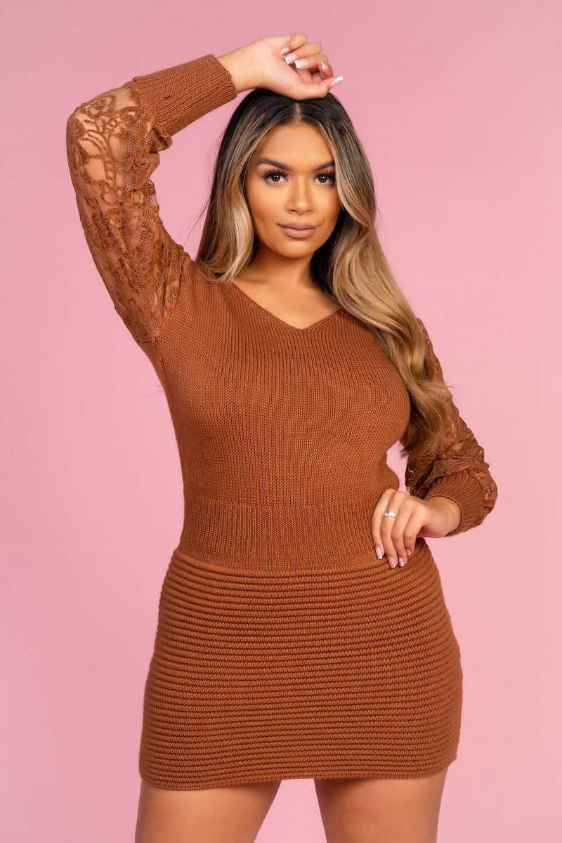 Knitted Brown Jumper Dress