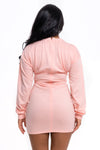 Long Sleeve Pink Bust Detail Dress