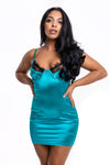 Satin Green Lace Bust Dress