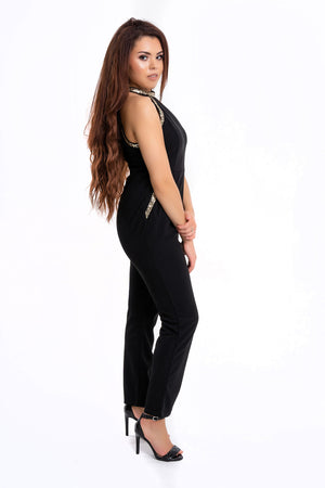 Gold Sequin Edged Jumpsuit - Mirror Image Style