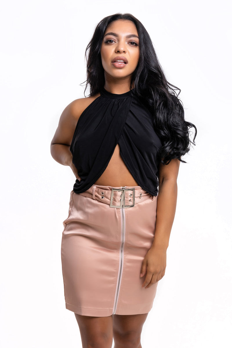 Satin Nude Pink Belted Skirt - Mirror Image Style