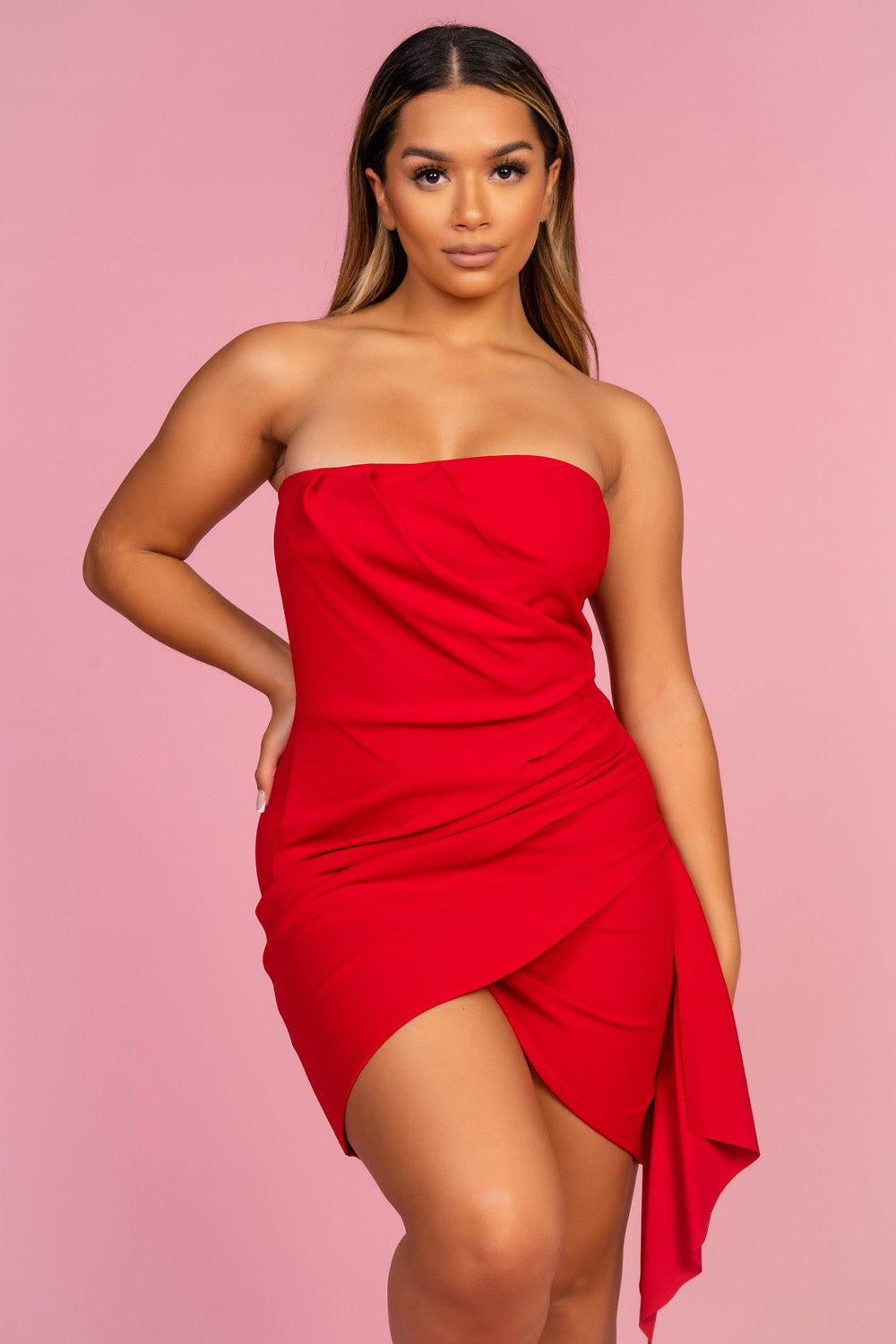 Red Ruched Strapless Dress