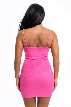 Hot Pink Suede Mini Dress - Mirror Image Style