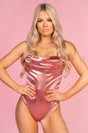 Pink Satin Strapless Bodysuit