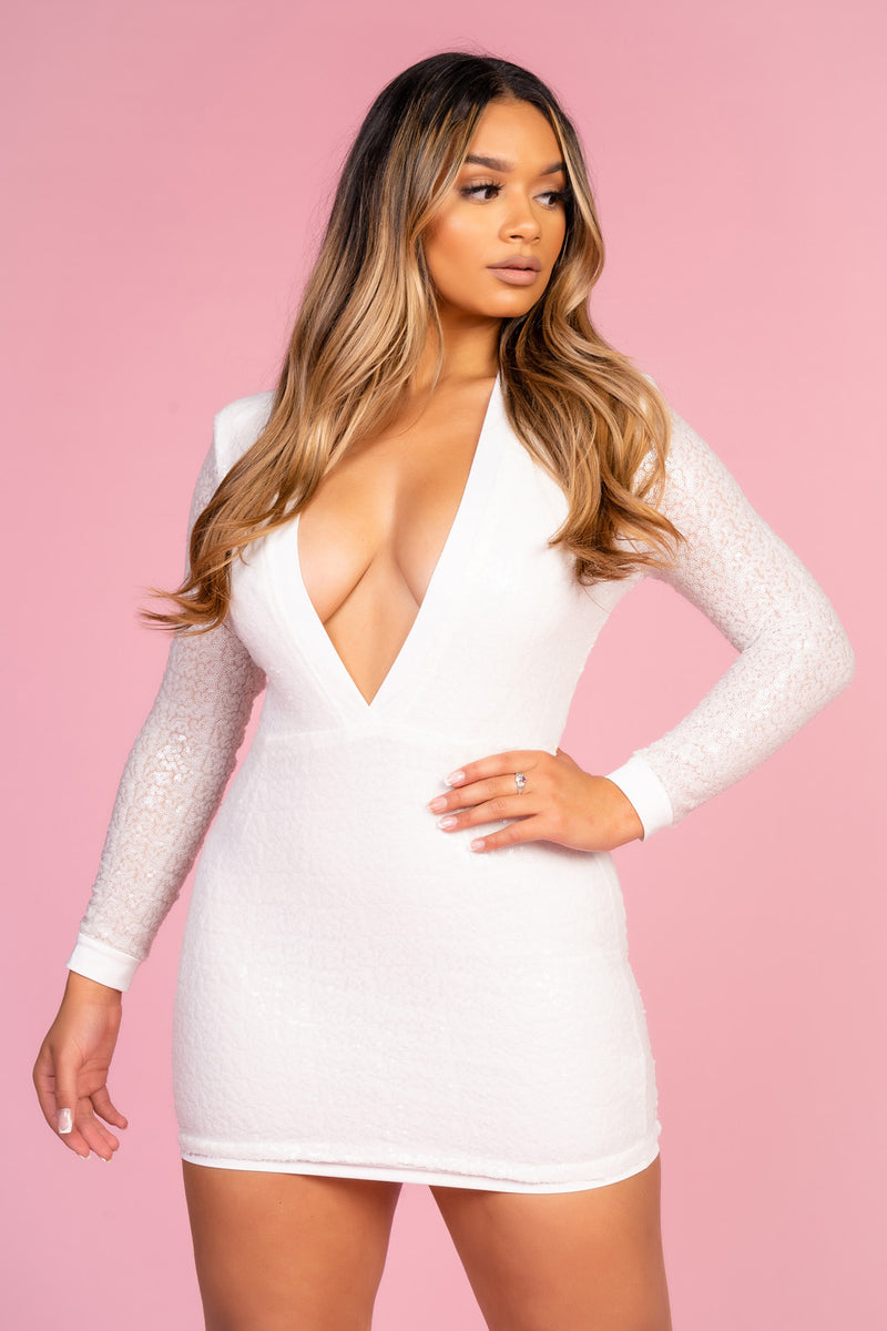 V Neck Plunge White Sequin Dress