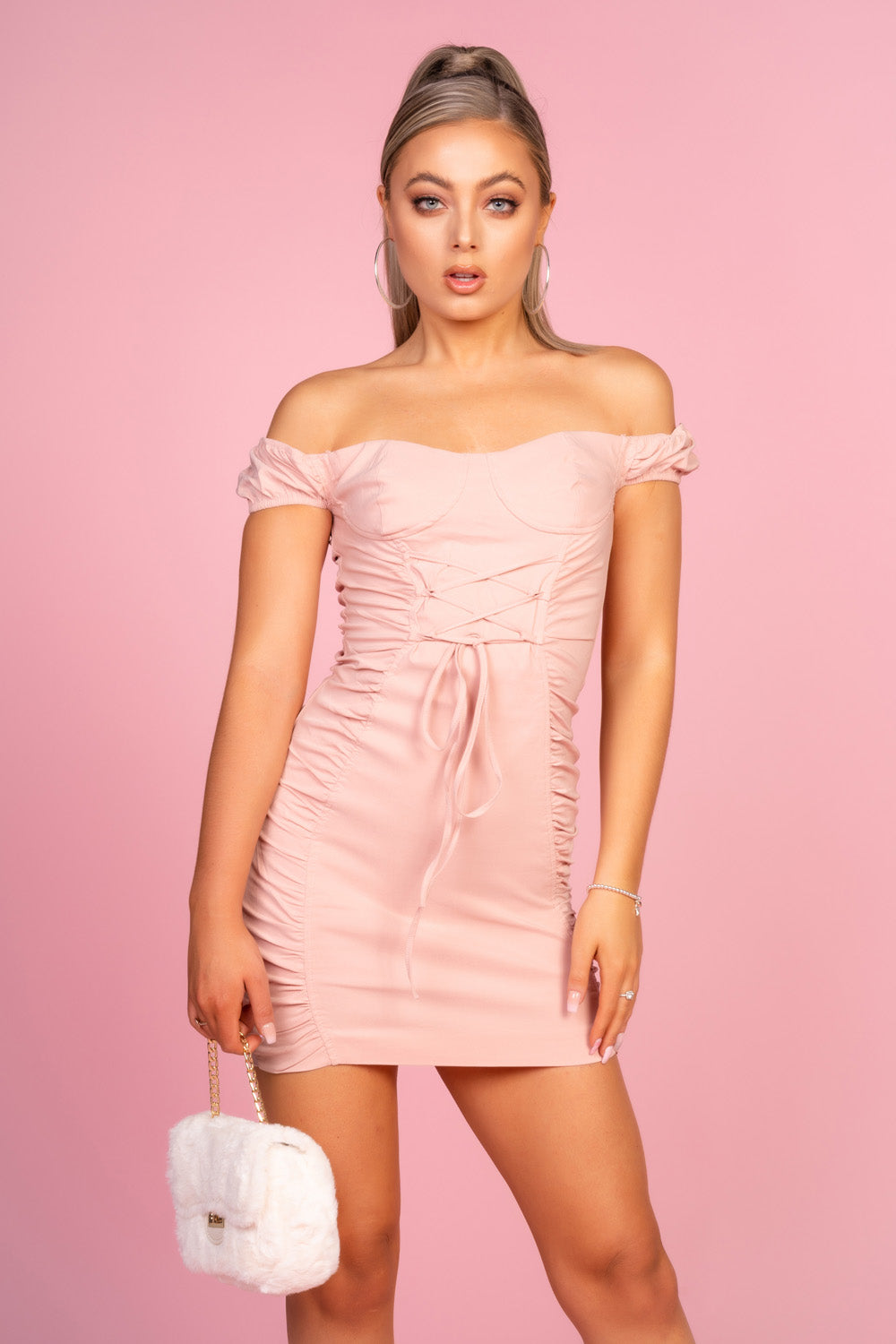Pink Off Shoulder Mini Dress