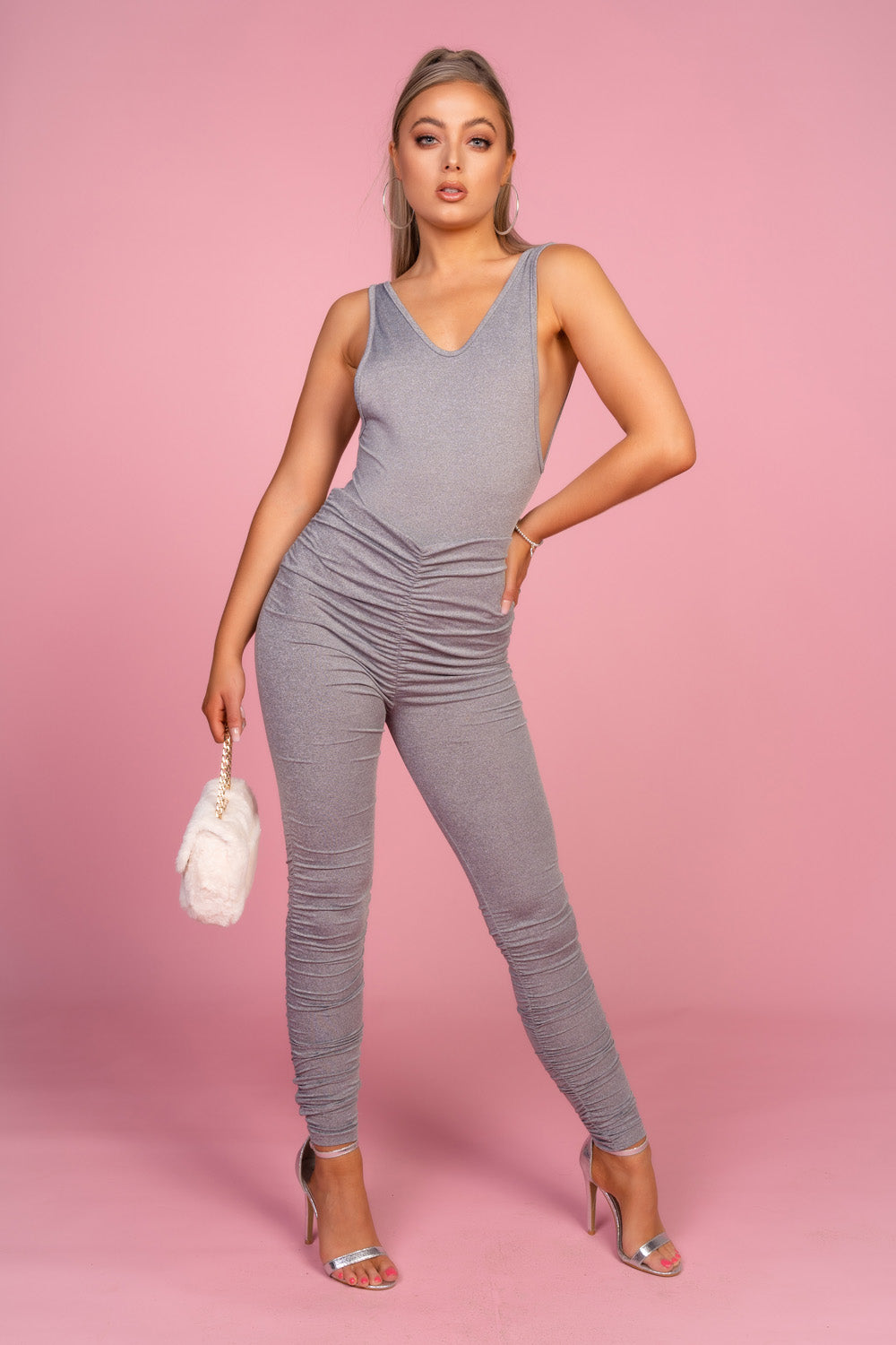 Grey Ruched Bodysuit Co-Ord