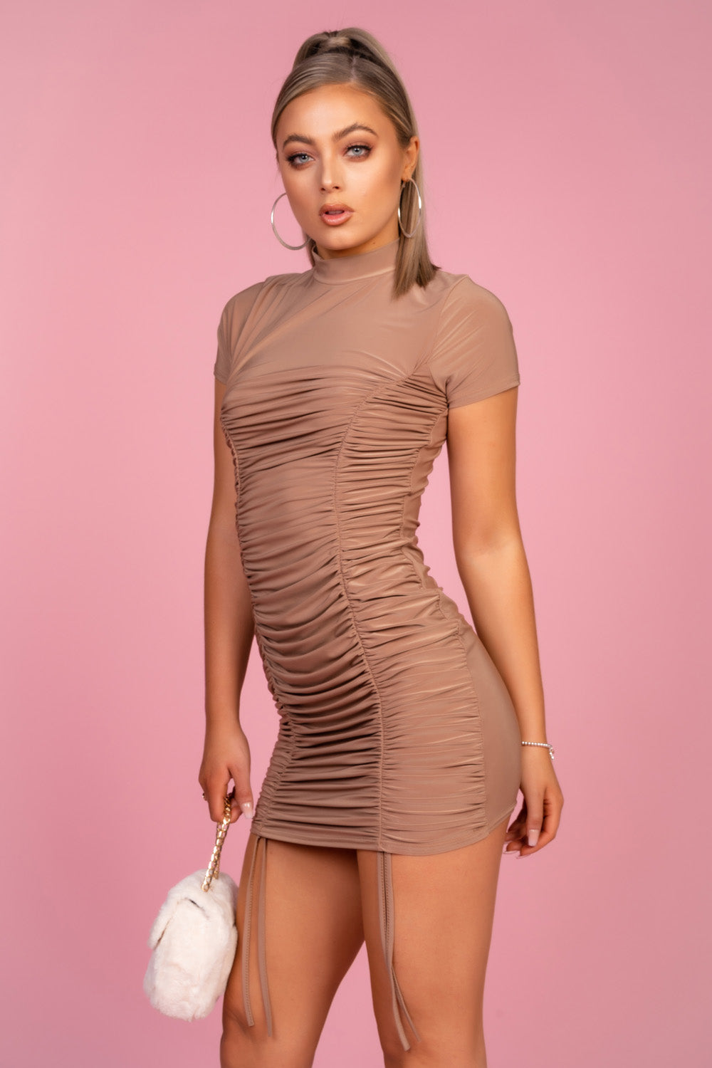 High Neck Ruched Beige Dress