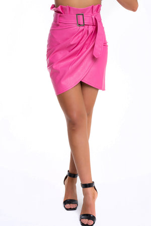 Pleather Pink Skirt - Mirror Image Style