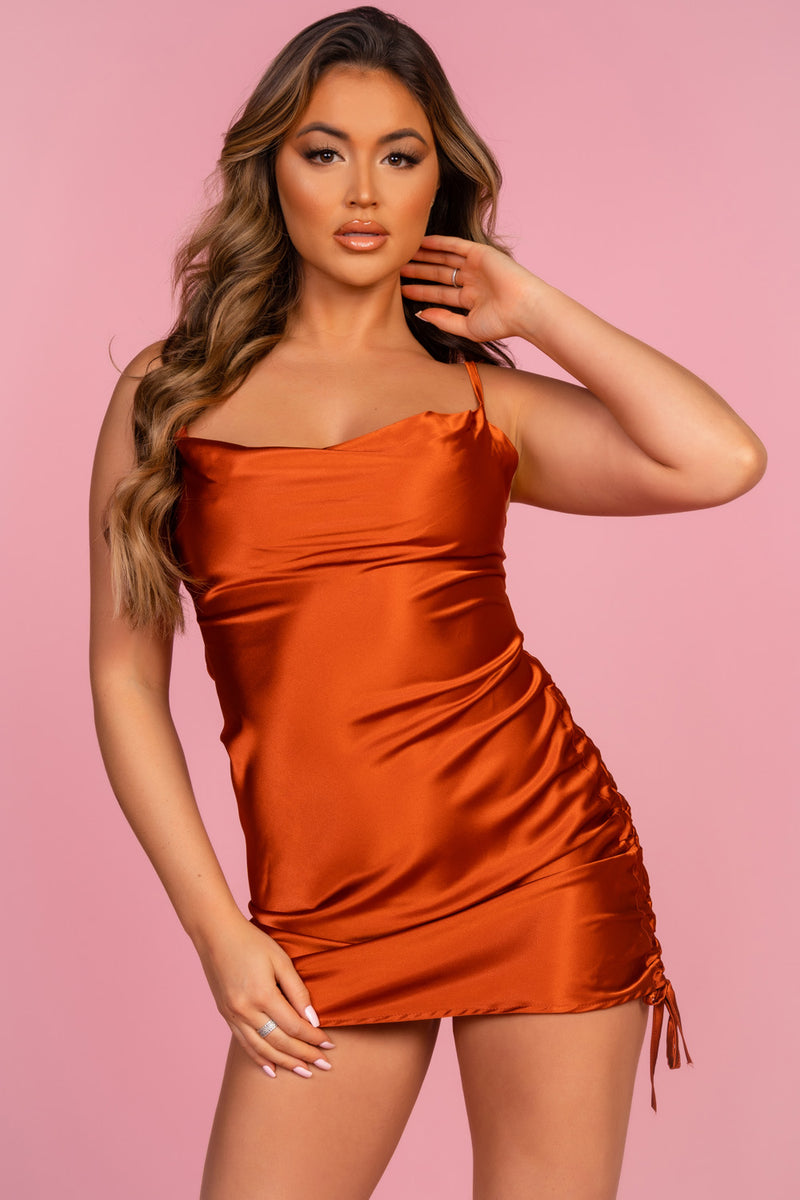 Rust Satin Side Ruched Dress