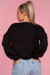 Cable Knit Black Ruched Jumper