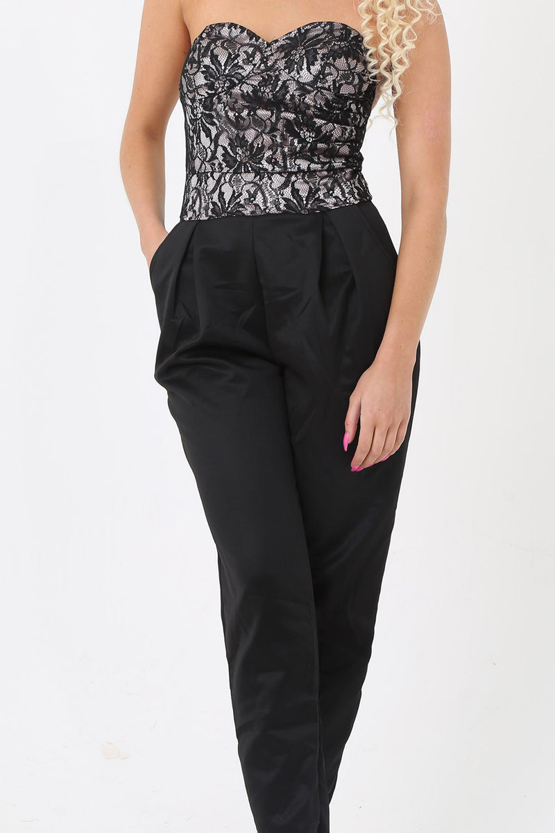 Strapless Lace Top Jumpsuit - Mirror Image Style