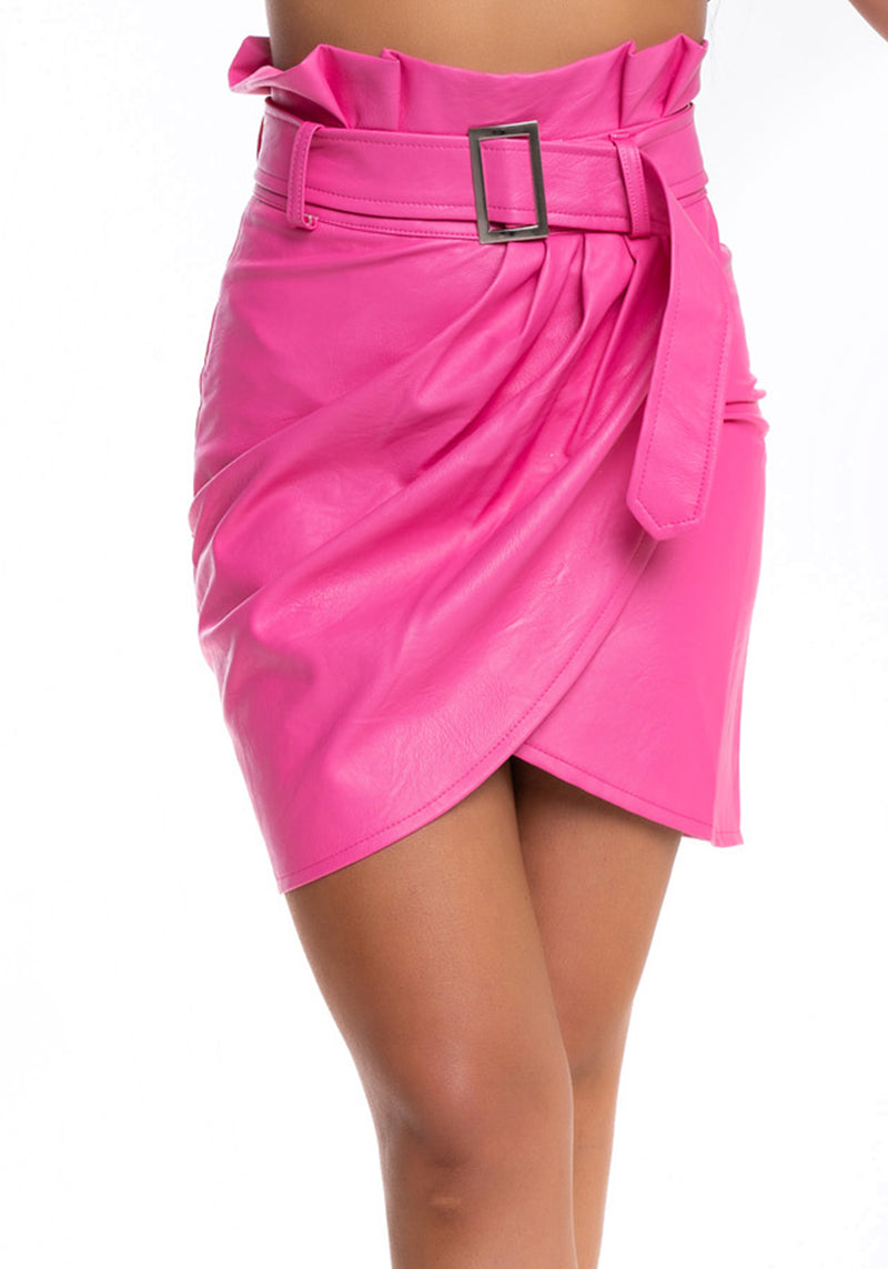 Pleather Pink Skirt