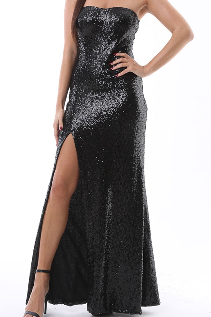 prom, maxi, races, dress, strapless, lbd, thigh split, sequin, sparkle, glam, sexy, dance