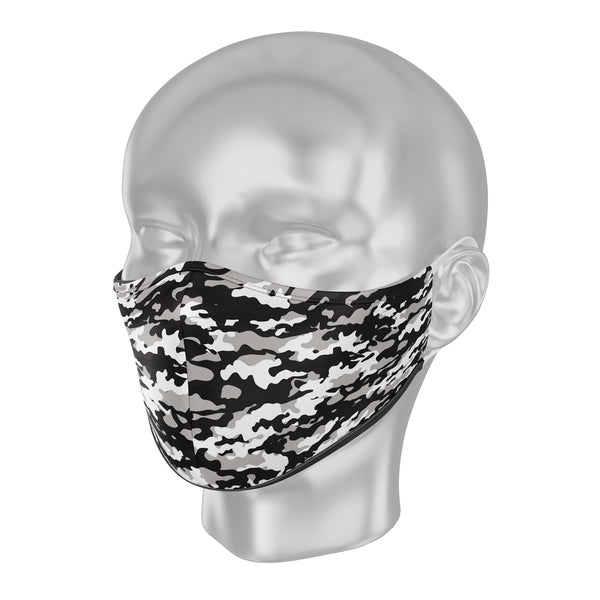 "Solidarity Safety Face Mask - Camo ""Black and White Battle"""