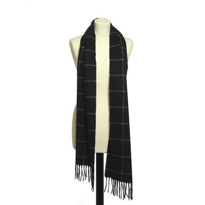 Tweedmill Lambswool Scarf Rolled Fringe 185cm - Noss Check