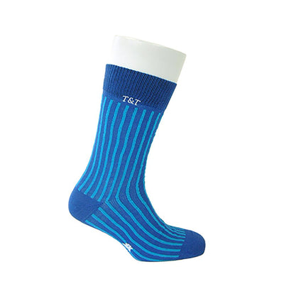 Tyler & Tyler Rich Cotton Men's Socks Pinstripe Wide Blue