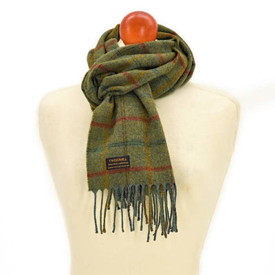 Tweedmill Lambswool Scarf Rolled Fringe 185cm - Country Check Sage
