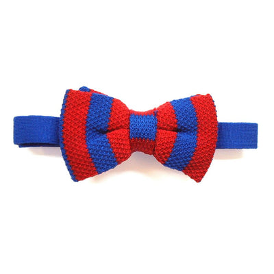 Tyler &Tyler Stripe Knitted Wool Bow Ties - Red & Blue