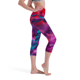 PINK|PURPLE|TURQUOISE COLORFUL PRINTED: WOMEN'S SEVEN-POINT YOGA PANTS - Zee Grace Tee